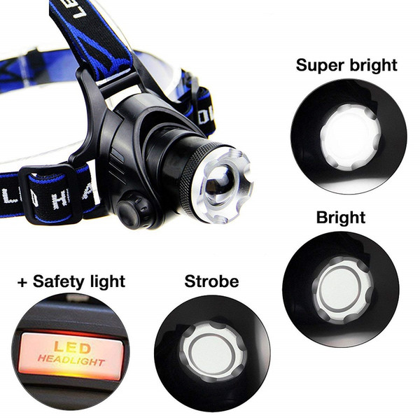 Waterproof 2000LM XML T6 LED Adjustable Focus Headlamp Headlight with Safety Warning Light Zoom Head Lamp Torch for Hunting Camping