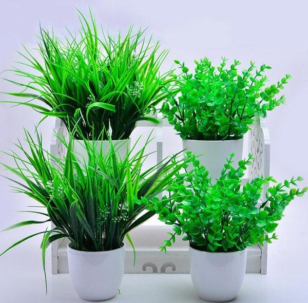 Frühlings-Gras-Grün-künstliches Blatt-Plastiksimulations-Laub für Hochzeitsdekorationen blühen moderne Raum-Verzierung mit Blumentopf
