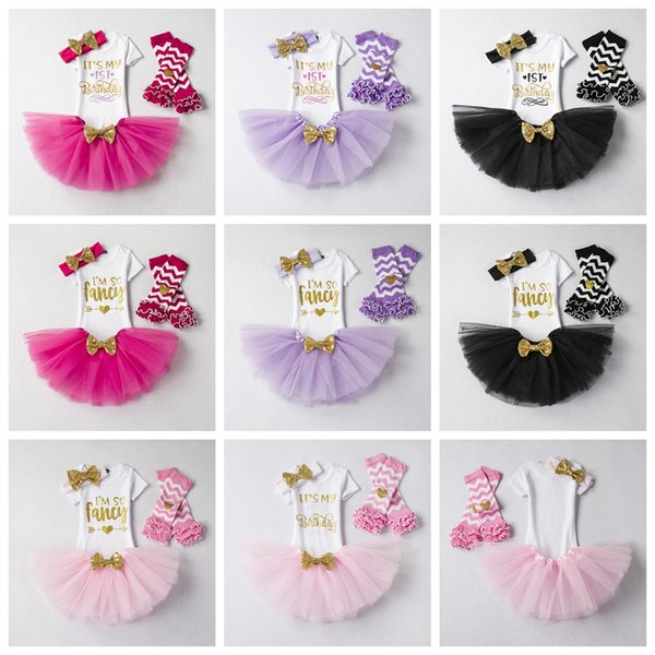 Это мой день рождения платье Baby Girl я так фантазии носки вершины юбка оголовья Эпикировка юбки девушки партии Infant Пачка малышей Одежда наборы L-JJA1809