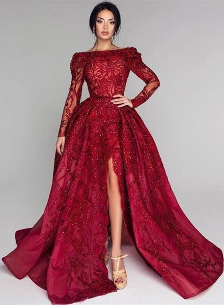 Vestidos De Gala Sexy Backless High Slit Sparkly Prom Dresses 2020 Long Sleeve Burgundy Bateau Neck Formal Party Dress Gala Jurken