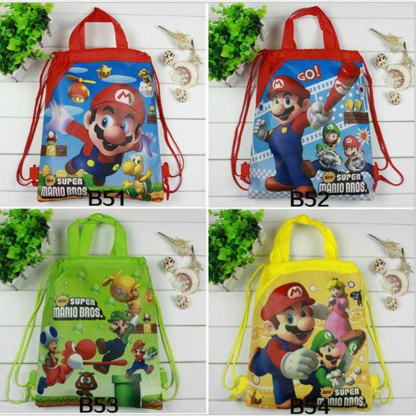 12pcs Super Mario Bros Children Drawstring Backpacks School Shopping Bags Non Woven Fabrics Kids Birthday Party Best Gifts