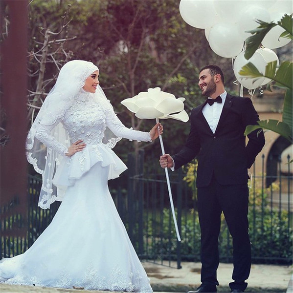 Robe de Mariage Hijab Veil Sexy Mermaid Long Sleeve Islamic Muslim Wedding Dress China Princess Wedding gown Vintage Luxury