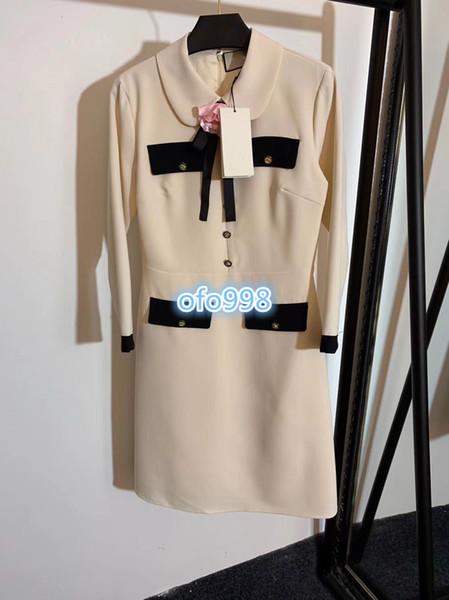 High end women dress skirt loose lapel neck Long sleeve Bow flower bee button women fashion a-line dress high-end vogue dresses