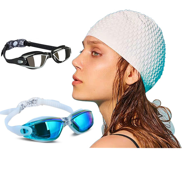 best selling Perscription Swim Glasses Myopia Adult Children Women Long Hair Silicone Caps Set Diving Eyewear Men Kids Swimming Goggles Gear