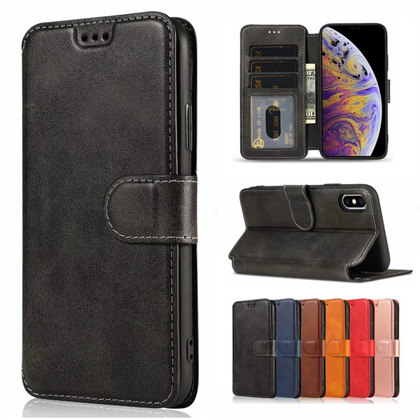 For iPhone XS MAX XR Case Wallet Leather Case Flip TPU Phone Cover Card Slots Photo Frame For iPhone X 7/8 6S