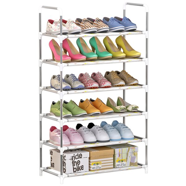 4-Tier/5-Tier/6-Tier Storage Shoe Rack Shoe Tower Shelf Storage Organizer Cabinet Stackable Shelves Holds 18 Pairs of