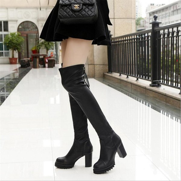 dijigirls Nuovi stivali lunghi in pelle elasticizzata a tubo lungo sopra il ginocchio stivali tacco alto stivali da pipa scarpe moda per bambini