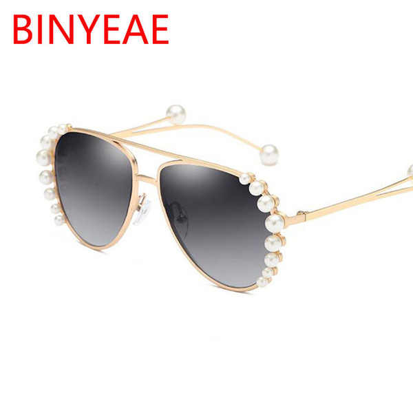 Occhiali da sole di lusso con perle pilota Donna 2018 Montatura in metallo Occhiali da vista vintage di marca Designer Occhiali da sole da donna alla moda