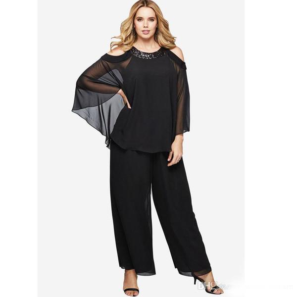 Siyah İki Adet Anne Gelin Pant Suit Custom Made Payetli Düğün Konuk Elbise Artı Boyutu Ucuz Uzun Kollu Anneler Damat Elbiseler