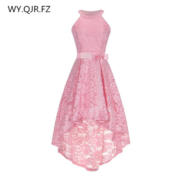 OML526F#Front short long back pink halter Bow Evening Dresses Classmate party dress prom gown wholesale fashion clothing