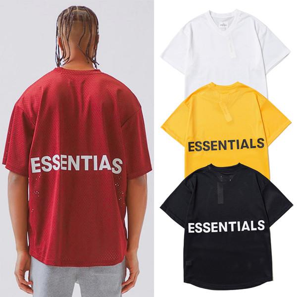 Camiseta de malla Fear Of God Essentials Camisetas de manga corta con cuello en v Sport Kanye West Hip Hop Streetwear Hombres Mujeres Camisas largas sueltas CLI0601