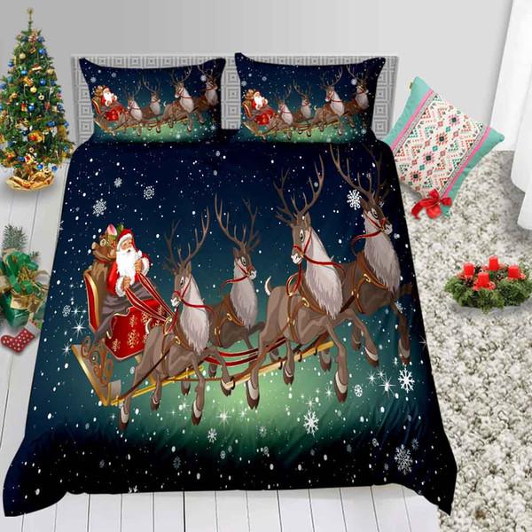 Gedruckte Bettwäsche Set Weihnachten Double Fantasy Sankt- und Ren-Bettbezug König 3D Königin Twin Einzelvollbettdecke mit Pillowcase 3pcs