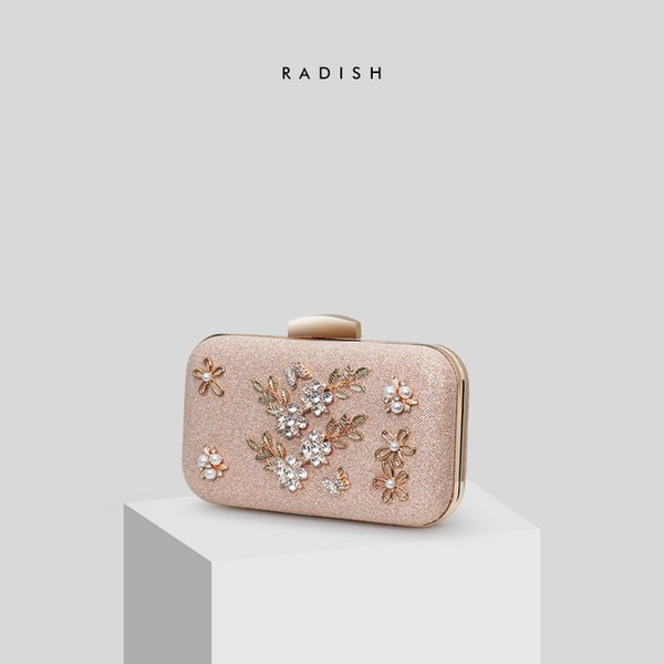 RADISH Crystal & Beaded Patchwork Ladies Temperament Hand Bags Wedding Dress Party Dinner Clutches Bag
