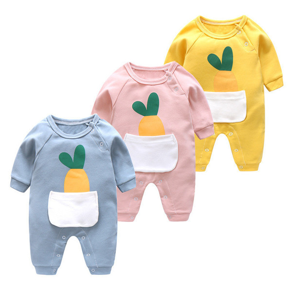 good quality newborn baby boys rompers infant autumn clothes cotton cartoon printed jumpsuit fashion toddle girls sleepwear outfits