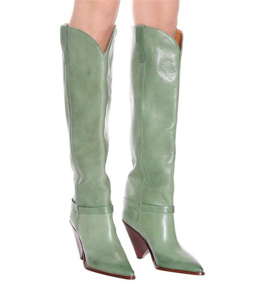 Wedged Women Runway Knee High Boots Autumn Pointed Toe Female Light Green Slip On Dress Cat Walk Show Winter Knight Martin Boots