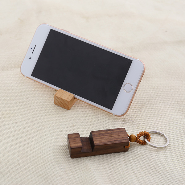 2019 Wooden Cell Phone Stand Holder Keychain Universal Portable Desktop Phone Holder Keyring Diy Wood Rectangle Ipad Android Stand Keyfob M798f From