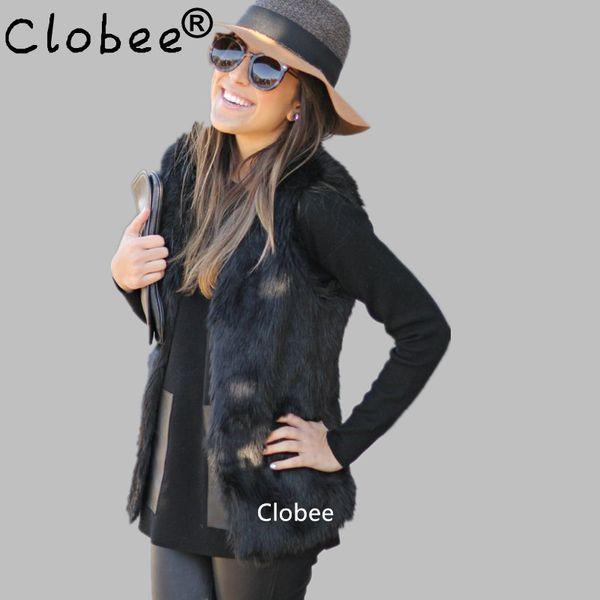 2019 Plus Size 5XL 6XL White Black Women's Faux Fur Gilet Coat Rabbit Mink Fox Fur Vest Medium-long V-Neck Waistcoats Jacket