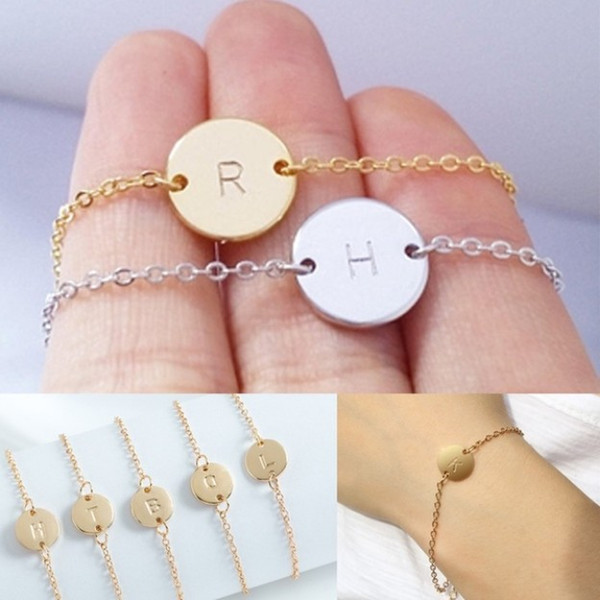 Minimalism Gold Silver Sequin Carved Letter A-Z Charm Bracelets Bangles For Women Womans Slim Alloy Chain Bracelets Jewelry