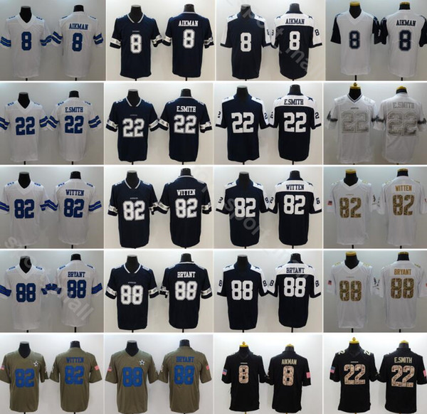 reputable site ff333 2816d 2019 Men Football 88 Dez Bryant Jersey Dallas Cowboys 82 Jason Witten 8  Troy Aikman 22 Emmitt Smith Vapor Untouchable Blue White Thanksgiving From  ...