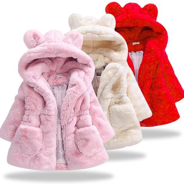 Menina do bebê Com Capuz de pele de menino Casaco Outerwear Casaco para a Menina rosa preto branco Inverno Quente casaco de pele Casaco para 5Y Roupas Infantis