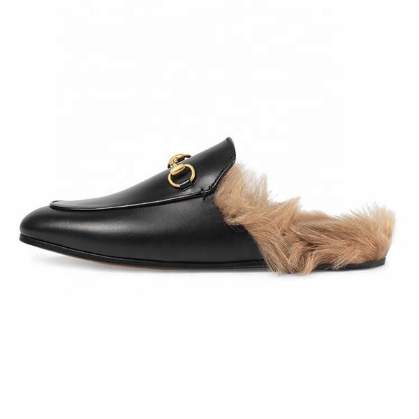 Mesdames haute qualité confortable chaussures de pantoufle de glissière de mule de fausse fourrure