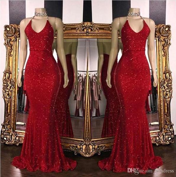 2019 New Red 스파클링 장식 조각 인어 긴 무도회 드레스 고삐 파란색 등이없는 스윕 기차 공식 파티 이브닝 드레스 AW354