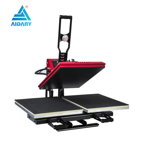 double working tables LCD controller heat press machine