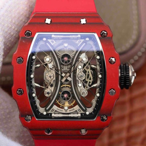 KV rm53-01 red luxury watch carbon fiber case automatic mechanical movement movement sapphire glass seismic mens watches