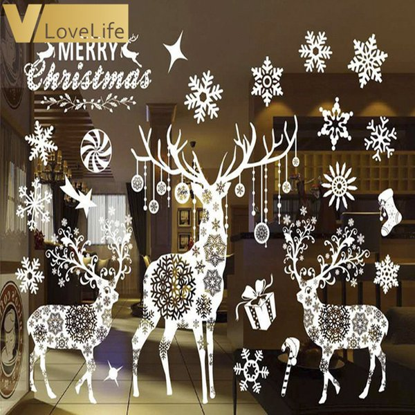 Merry Christmas White Reindeer & Snowflake Window Sticker Wall Sticker Wall Decals Removable DIY Window Door Decorations