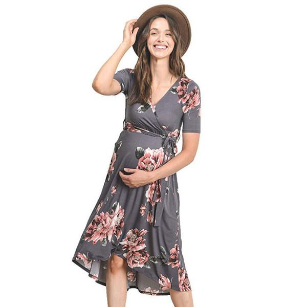 New women's V-neck printing belt long skirt pregnant women dress female cross-border explosion models Europe and America Q12