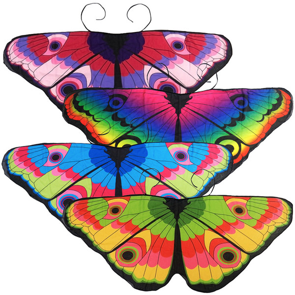 Kids Girl Princess Cloak Fairy Butterfly Costume Wings Monarch Chiffon Children Fancy Cape Pixie Cosplay animal scarf MMA2405