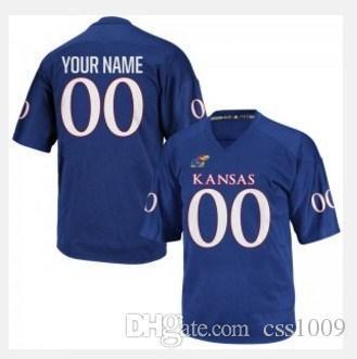 Benutzerdefinierte Kansas Jayhawks College Football Jersey Mens begrenzte Königsblau Personalisierte genähtes irgendein Name Jede Anzahl Trikots XS-5XL