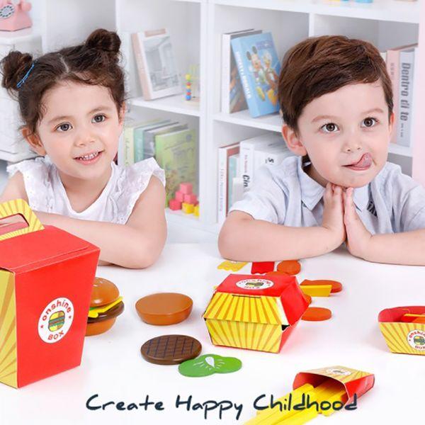 Madeira jogar rápido Food Set Mini Burger Cola franceses nuggets fritas Steak frango Pretend Play cozinha Brinquedos para Crianças
