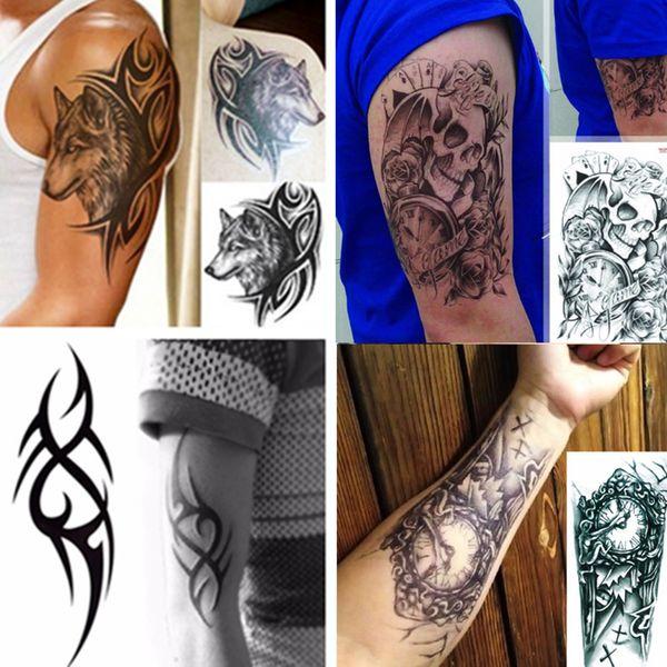 Impermeável projetos tatuagens temporárias 3D braço mecânico preto Robô de transferência tatuagem falsa Adesivos Hot Sexy homens frescos pulverizador