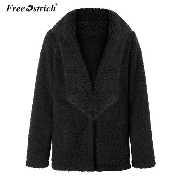 Free Ostrich Faux Fur Coat For Women 2019 Autumn Warm Soft Loose Fur Jacket Female Outerwear Ladies Casual Winter Overcoat N30