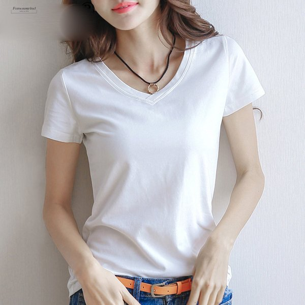 Spring T Shirt Summer Women Cotton T Shirt V Neck Short Sleeve Female Tee Slim White Solid V Neck Lady