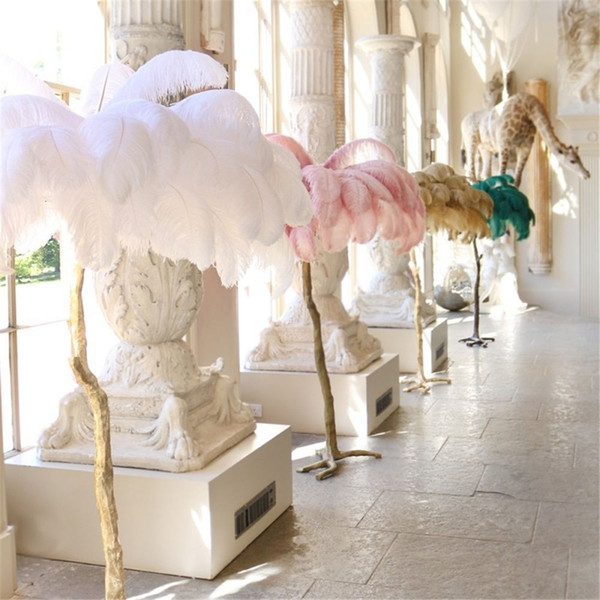 Ostrich Feather Floor Lamp wedding road led standing decorations gold copper bedroom decors light living room party backdrop free shipping