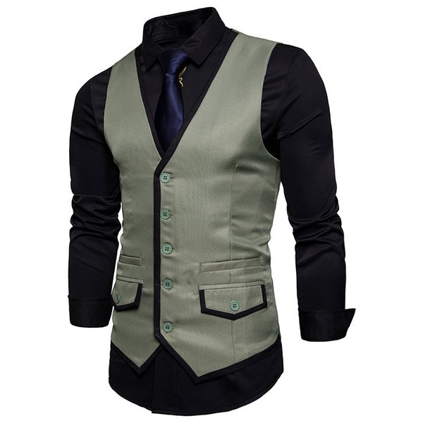 size 40 official images buy best 2019 New Mens Slim Fit Single Breasted Suit Vest Gilet Homme Costume 2019  Casual Covered Edge Design Men Vest For Wedding Party Xxl From Jc03, $39.35  ...