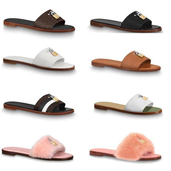 deslizadores de diseño sandalia bloquéelo zapatillas de mula planas diapositivas de piel Zapatillas para mujer 100% cuero genuino Chanclas planas Clip para pies Grande