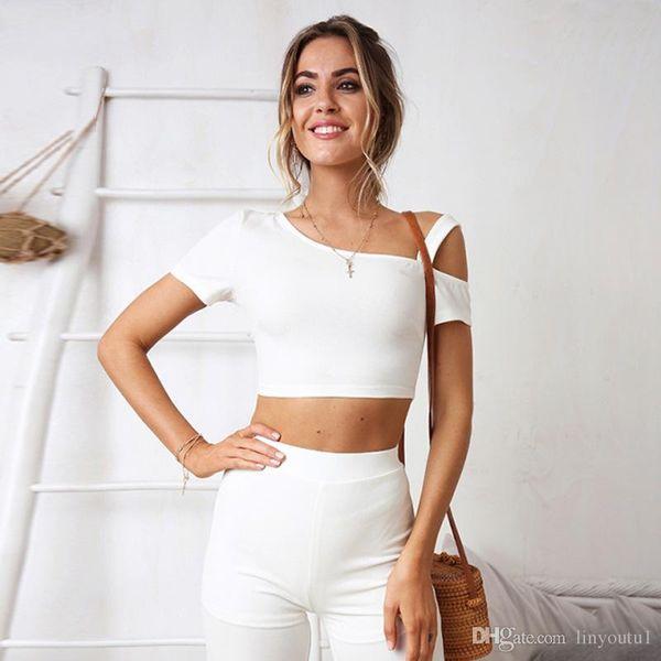 2019 T-shirt manches courtes femmes Slim solide Femmes Couleur T-shirt simple T-shirt des femmes pour Femme T-shirt