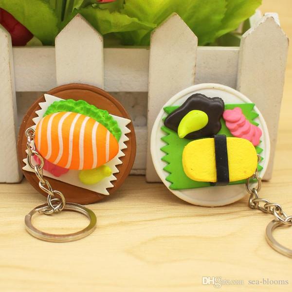 Criativo presente cozinha comida salmão keychain bonito simulação sushi chaveiro caixa de sushi arco-íris pingente bolsa chaveiros para brinquedos dos miúdos h443r