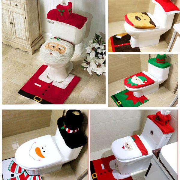 3 Pcs/Set Santa Toilet Seat Covers Christmas Decoration Rug Reindeer Toilet Seat Covers Rug Hotel Bathroom Set Xmas Gift HH7-1295