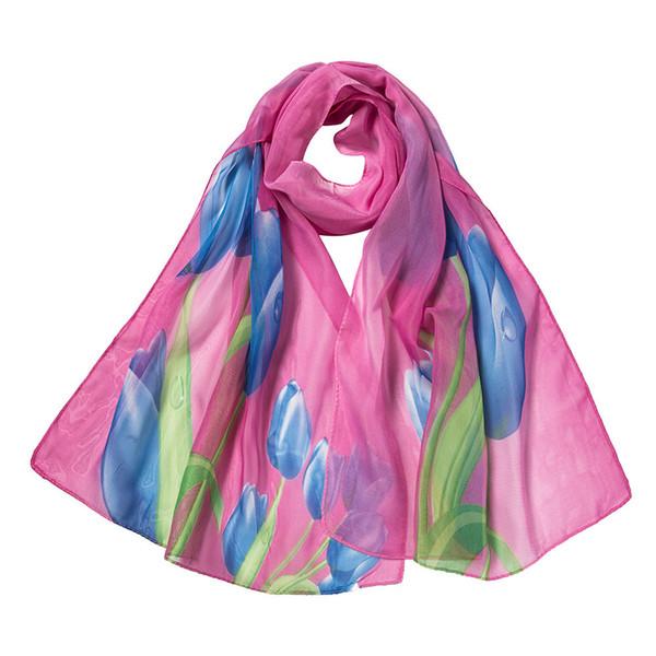 Fashion Soft Scarf For Women Shawl Floral Printing Chiffon Wrap Scarves Ladies Thin Long Silk Scarf Beach Wrap Shawl Szalik #Z