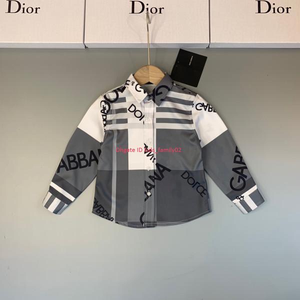 Детская рубашка осень детская дизайнерская одежда для мальчиков и девочек отворотом рубашки с цветным дизайном буквы шаблон полиэстер хлопок рубашка