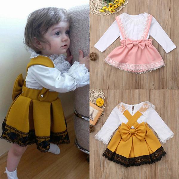 Conjunto de Roupas de bebê Recém-nascido Kid Baby Girl Lace Romper Tops Arco Princesa Partido Saia Vestido Outfit Set Crianças Top camisas
