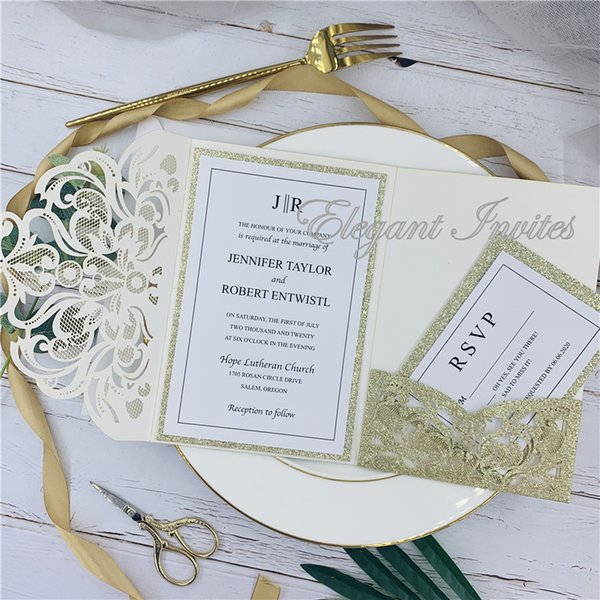 Glitter Gold Legant Laser Cut Wedding Invitation Cards Greeting Card Customize Business With Rsvp Cards Decor Party Supplies Cheap Wedding Shower
