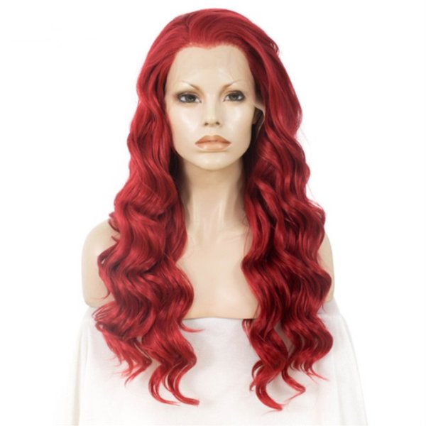 Halloween New Style Red Synthetic Lace Front Wig Body Wave Long Hair Wigs For Women Heat Resistant Fiber Glueless Cosplay Wig Free Part