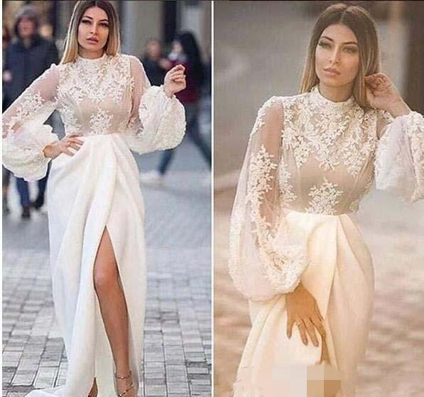 rendas appliqued manga longa árabe noite formal vestidos 2018 sereia vestidos de baile 2019 robes de soirée coquetel vestidos frente split