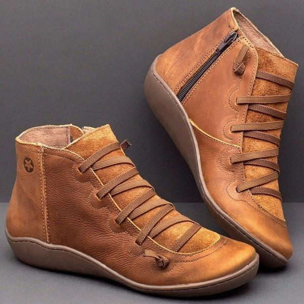 Puimentiua Kadınlar Kış Kar Boots Deri Ayak bileği Bahar Düz Ayakkabı Kadın Kısa Brown Boots Kadınlar Lace Up Boots İçin Kürk ile