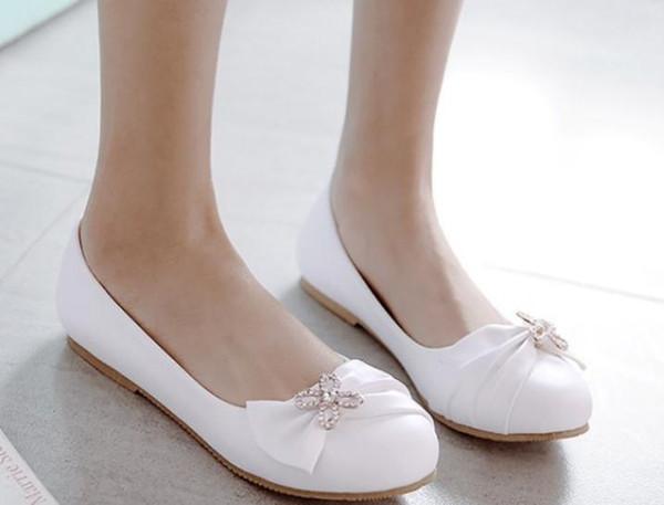 2018 bowknot Sapatos femininos na Primavera e no Outono com a nova cabeça redonda de fundo chato